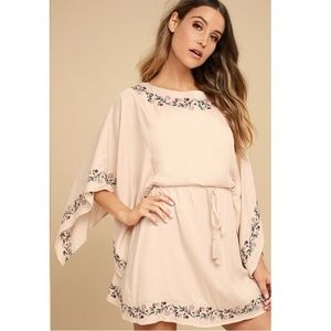 Lulu's Blush Pink Floral Embroidered Dress Small